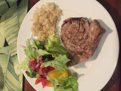 Fresh Tuna Steaks we caught in Rarotonga, Cook Islands for dinner